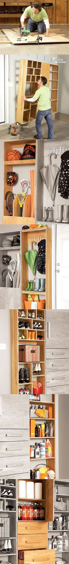 Entry doors from attached garages and mud rooms seem to attract clutter. These storage projects are designed to solve that problem, with special shelves, cabinets and drawers for toys, sports gear, shoes, boots, and all the other stuff that piles up by a heavily used entryway. Learn how to build your own backdoor garage storage center at http://www.familyhandyman.com/DIY-Projects/Home-Organization/Garage-Storage/garage-storage-backdoor-storage-center/View-All