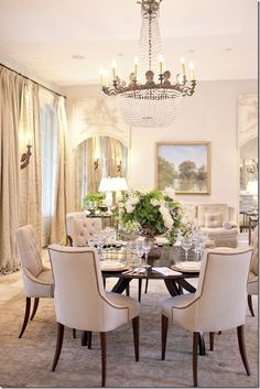 Beautiful dining room interior design ideas and home decor ~ love the chairs & chandelier