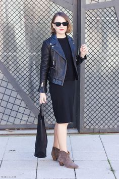 Trini | Gap black midi dress Isabel Marant Dicker boots The Kooples leather jacket Ray-Ban sunglasses
