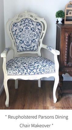 DIY Reupholstered chair makeover with Chalk Paint and clearance curtain as fabric - Girl in the Garage & Best fabrics for dining room chairs | Dining room | Pinterest ...