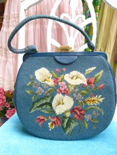 Vintage Powder Blue & Cream Floral Lily Embroidered Purse $65