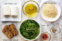 Baked Goat Cheese Ingredient flat lay