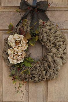 LOVE!!!!Beige Flower Burlap WreathBuralp by WhimsyChicDesigns on Etsy,