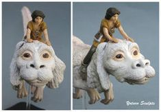 Falkor The Neverending Story falcor atreyu by yotaro-sculpts on DeviantArt Neverending Story Falcor, Sculptures, Lion Sculpture, Movie Characters, Fictional Characters, Movie Collection, My Animal, Easy Drawings, Sculpting