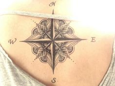 Beautiful compass rose tattoo