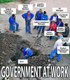 Government at work. This seems like a joke, but having worked in government I have seem first hand this is no joke! The amount of waste from government is ridiculous! The private sector can ALWAYS do things more efficiently and at a lower cost, yet more and more everything is being turned over to the government to run which results in even more wastefulness and inefficiency!