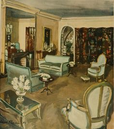 1930s Living room by David Mode Payne. I like the aquamarine satin on the sofas, but if her other projects were as tastefully bland as this one, it's no wonder no one has ever heard of Elizabeth Hofflen, who's credited with the room's decoration. Fortunately, David Payne's effortless-looking rendering skills save the day. And really, that's what this board is about: the DEPICTION of rooms, rather than the rooms' decor per se. From my favorite 1947 H&G Book. --Magnaverde.