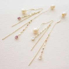 K10YG natural stone pierced earrings with chains #tocca #japan