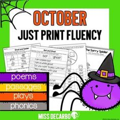 """Fluency practice should be fun! This October pack contains engaging fluency activities for your beginning readers. Take back your planning time with """"just print,"""" ink-friendly pages to promote reading fluency, comprehension, and reading motivation. This pack contains: Fluency Picture Passages - ..."""