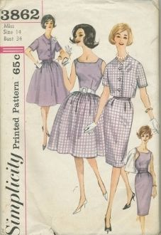 An original ca. 1960's Simplicity Pattern 3862.  Sleeveless blouse has lowered neckline and left side zipper.  Full gathered skirt has back zipper and purchased belt.  Slim skirt has soft box pleats at front waistline, back zipper and back kick pleat.  A contrasting cummerbund or purchased belt may be worn.  Short jacket is fully lined or faced to edge and has short set-in sleeves.