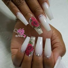 Nail art idea | wedding nail art | coffin nails
