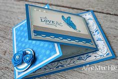 handmade card ... joy fold design .. white, blue and gray ... like this fun fold!! ...Stampin' Up!