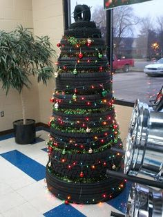Tire Christmas Tree! Love it. Definitely doing this next year for the holidays at the shop: http://www.pacifictireoutletinc.com. #BayArea #SanJose #Milpitas
