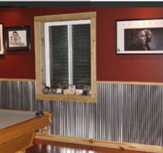 Corrugated Roof Panels As Wainscoting Bathroom