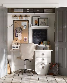 A great idea to turn a closet into a workspace. #potterybarn