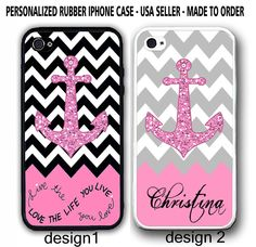 PERSONALIZED LIVE LOVE LIFE GREY CHEVRON PINK ANCHOR CASE FOR IPHONE  6 / 6 PLUS #UnbrandedGeneric
