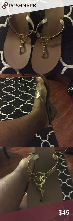 Michael Kors shoes MK MK sandals Brown and Gold Shoes Sandals