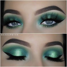 Glitter smokey eye makeup is the key to your successful and glamorous look. Are you still having doubts? Then look at these simple and stunning ideas! Mint Eyeshadow, Eyeshadow For Green Eyes, Eyeshadow Looks, Eyeshadow Makeup, Makeup Cosmetics, Smokey Eyeshadow, Eyeshadows, Gothic Makeup, Sexy Makeup