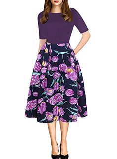Wear To Work Dresses - oxiuly Women's Vintage Patchwork Pockets Puffy Swing Casual Party Dress at Women's Clothing store: Casual Cocktail Dress, Casual Party Dresses, Stylish Dresses, Formal Dresses, Next Dresses, Plus Size Dresses, Dresses For Work, Modest Dresses, Skater Dresses