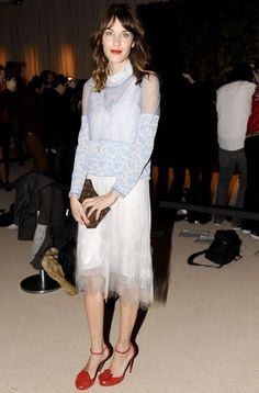Alexa Chung at the CFDA Awards in New York wearing a sheer white tulle & lace Thakoon dress with red ankle strap heels