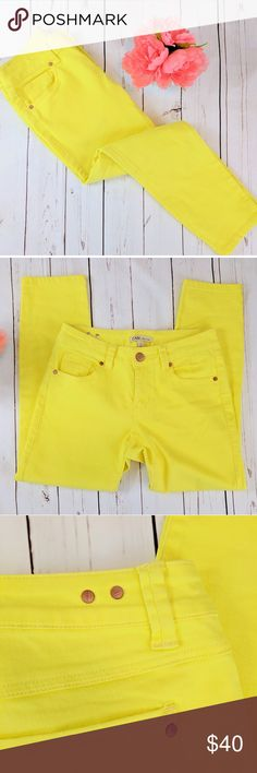 CAbi #760 • Limon cropped Bree jeans CAbi #760 Limon cropped Bree jeans, bright yellow cotton blend with mild stretch. Excellent condition, no signs of wear.   MEASUREMENTS: Flat across waist: 14.5 Flat across hips: 18 inches at base of zipper Front rise: 8.5 inches Inseam: 26 inches  C010 CAbi Jeans Ankle & Cropped