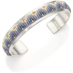 Chan Luu Ombre Beaded Sterling Silver Cuff Bracelet (287 CAD) ❤ liked on Polyvore featuring jewelry, bracelets, apparel & accessories, beaded cuff bracelet, 18k jewelry, sterling silver jewelry, cuff bracelet and beaded bangles