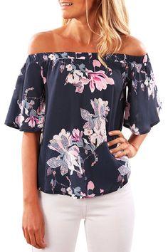 Navy Random Floral Print Off Shoulder Irregular Hem T-shirt from mobile - US$13.95 -YOINS