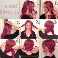 1) separate the front from the back 2) braid the front sections 3) tease the crown 4) wrap one braid around and secure with bobby pins 5) wrap the opposite side and tuck the tail under the first braid, secure with bobby pins 6) continue wrapping and pinning the braids over and under each other 7) make any adjustments and secure with bobby pins