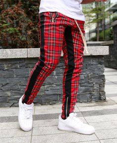 Casual Grid Side Stitching Drawstring Pants for a casual look fits daily life Sweatpants Style, Mens Sweatpants, Fashion Sweatpants, Mens Jogger Pants, Sport Pants, Red Joggers, Men Pants, Casual Pants, Men Casual