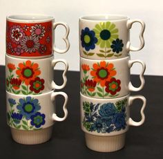 RETRO '70's Japanese  Porcelain Teacups coffee cups by LuvOfMine