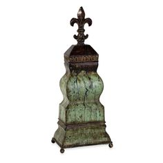 IMAX Cross Table Top Statuary with Lid in Rustic Teal - 47064 - Statues & Figurines - Decorative Accents - Decor Tuscan Style, Rustic Style, World Decor, Mediterranean Decor, Bedroom Night Stands, Tuscan Decorating, Wood Accents, Old World, Metal