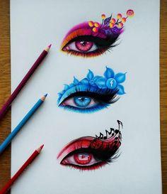 drawings of love Cool Art Drawings, Pencil Art Drawings, Art Drawings Sketches, Colorful Drawings, Art Illustrations, Hipster Drawings, Horse Drawings, Easy Drawings, Eyes Artwork
