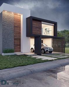 Vista exterior: casas de estilo por d+studio arquitectura*interior - Villa Design, Facade Design, Exterior Design, Architecture Design, Pavilion Architecture, Sustainable Architecture, Residential Architecture, Design Art, Design Ideas