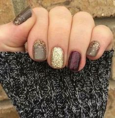Thanksgiving Nails - Metallic Nails - Differnt Color Nails - Fall Nail Colors - Thanksgiving Nails - Fall Nail Colors & Ideas - Matte Brown, Metallic Nails, Glitter Nails, November Nails, Holiday Nails Thanksgiving Nail Ideas - MY World Gel Nail Art Designs, Winter Nail Designs, Colorful Nail Designs, Nails Design Autumn, Toenail Designs Fall, Fall Pedicure Designs, Holiday Nail Designs, Pretty Nail Designs, Fall Gel Nails