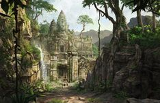 Eidos just released some of my concept art for Tomb Raider: Underworld . Fantasy City, Fantasy Forest, Fantasy Places, Fantasy World, Tomb Raider Underworld, Jungle Temple, Tomb Raider Lara Croft, Game Concept Art, Environment Concept