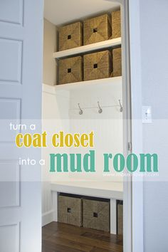 Turn a Coat Closet into a Mudroom.with hooks and baskets for storage! --- Make It and Love It Turn a Coat Closet into a Mudroom.with hooks and baskets for storage! Declutter Your Home, Coat Closet, Entry Closet, Mudroom Closet, Mud Room Storage, Closet Makeover, Home Improvement, Storage Baskets, Mudroom