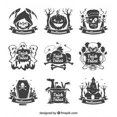 Collection of hand-drawn halloween sticker Free Vector