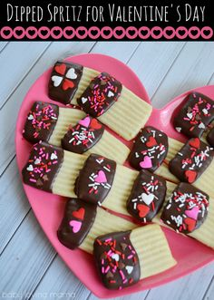 Chocolate Dipped Spritz for Valentine's Day