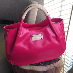 "Kate Spade Bright Pink Satchel. Kate Spade Bright Pink Handbag. 14"" across, 13"" tall, 5.5"" wide. Gold tone feet. kate spade Bags"