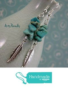 Southwestern Turquoise Natural Stone Chip and Feather Charm Dangle Earrings by ArtsParadis from ArtsParadis