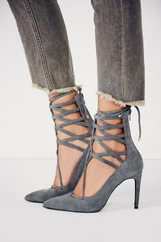 Grey suede lace-ups