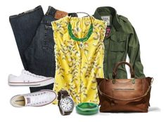 Yellow Blouse by jensmith1228 on Polyvore featuring polyvore, fashion, style, Old Navy, Victoria's Secret, Converse, Steve Madden, Palm Beach Jewelry, NOVICA and clothing