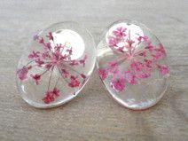 ♥ღღ♥ Ohrstecker Blüten  zart rose Cabochon ♥ღღ♥