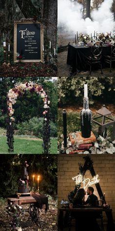 Black Wedding Themes, Wedding Colors, Gothic Wedding Ideas, Gothic Wedding Decorations, October Wedding, Fall Wedding, Dream Wedding, Witch Wedding, Halloween Themed Weddings