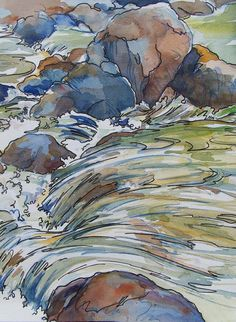 Song of the Water. watercolor I painted on a shady summer afternoon at Rock Creek, Klamath River, northern California.