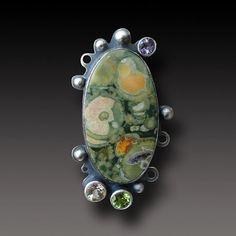 Rainforest Jasper Ring Sterling Silver handmadet Ring