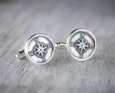 Compass Cufflinks Sterling Silver Nautical by PrairieCoastArt