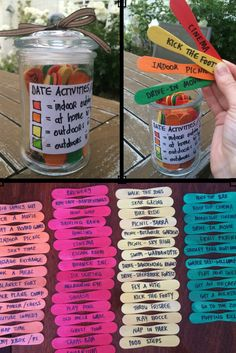 A jar of colour coded date night ideas. Perfect for an anniversary gift.  Orange = stay home - no cost Red = indoor outing - cost involved Yellow = outdoor activity - no cost Green = outdoor activity - cost involved
