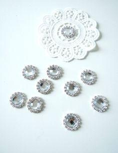 10 Silver clear rhinestone metal cabochons -  Faceted clear cabochons - Synthetic crystal cabochons - Rhinestone flatback embellishment. UK by BrightonBabe on Etsy