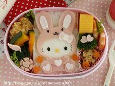 Rabbit Hello Kitty bento    #food #bento #hellokitty